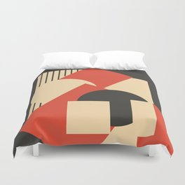 Geometrical abstract art deco mash-up scarlet beige Duvet Cover