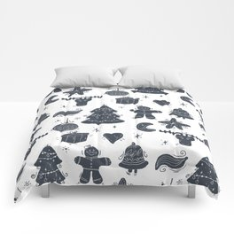 Grey Christmas Objects Decor Comforters
