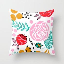 Bright florals Throw Pillow