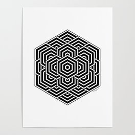 #3 Geometric Hexagon Black And White Poster