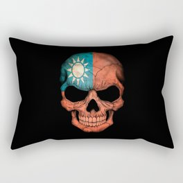 Dark Skull with Flag of Taiwan Rectangular Pillow