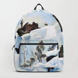 Akseli Gallen-Kallela - Quarry gray winter day - Digital Remastered Edition Backpack