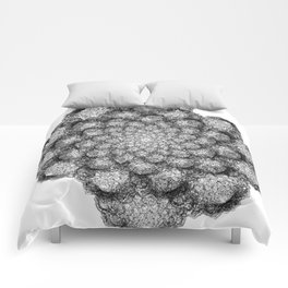 GEOMETRIC NATURE: BROCCOLI w/b Comforters