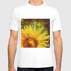van Gogh styled sunflowers version 3 White MEDIUM Mens Fitted Tee