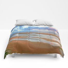 The Beach at Sunset (Digital Art) Comforters