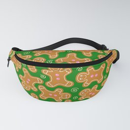 Gingerbread Men on Christmas Green Fanny Pack
