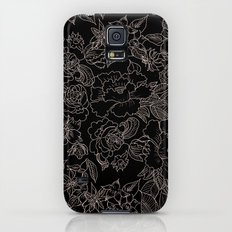 Pink coral tan black floral illustration pattern Slim Case Galaxy S5