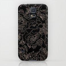 Pink coral tan black floral illustration pattern Galaxy S5 Slim Case