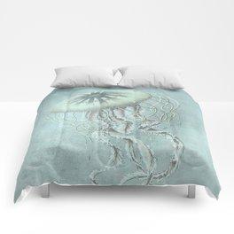 Jellyfish Underwater Aqua Turquoise Art Comforters