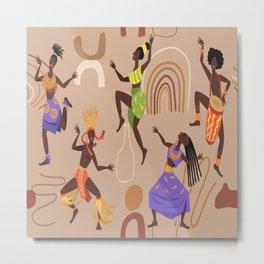 African female dancers. Cartoon aboriginal people dancing folk ritual dance modern vector poster. Metal Print