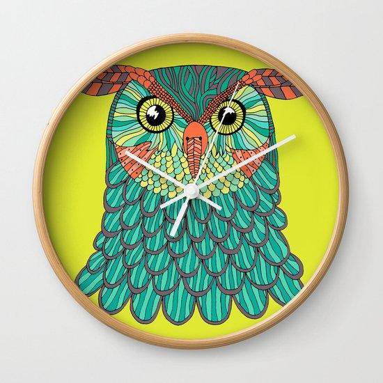 owl - Lime green Wall Clock