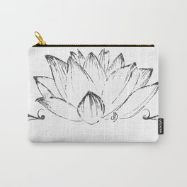 Lotus's Flower drawn, vectorised, grung texture, spiritual Carry-All Pouch