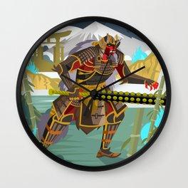 oni samurai warrior with iron club Wall Clock