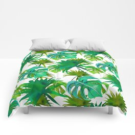 Abstract hand painted forest green watercolor tropical leaves Comforters