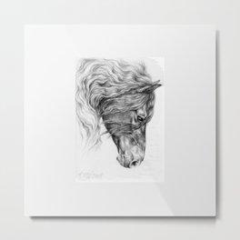 BLACK FRIESIAN HORSE portrait Black & White pencil drawing Metal Print