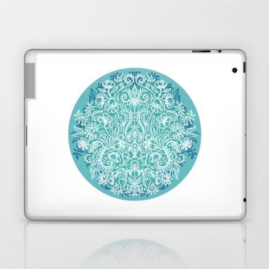 Spring Arrangement - teal & white floral doodle Laptop & iPad Skin