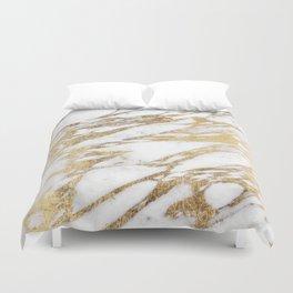 Chic Elegant White and Gold Marble Pattern Duvet Cover