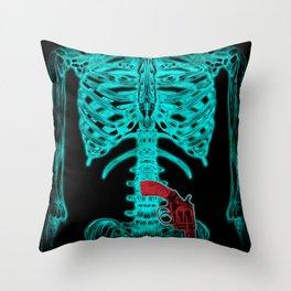Human Xray with Gun Throw Pillow
