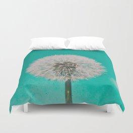 Green Blue Dandelion Duvet Cover