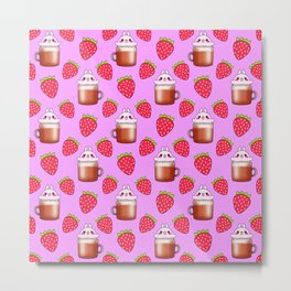 Cute little happy funny pink little baby bunnies sitting in cappuccino coffee cups, yummy red ripe sweet summer strawberries pretty pastel pink fruity pattern design. Metal Print