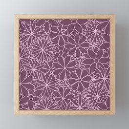 Stylized Flower Bunch Pink & Plum Framed Mini Art Print