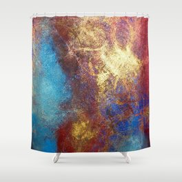 Philip Bowman Red, Blue And Gold Modern Abstract Art Painting Shower Curtain