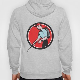 Pest Control Exterminator Spraying Circle Cartoon Hoody