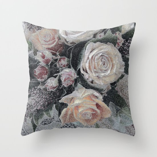 First Frost- Frozen Flowers  Throw Pillow