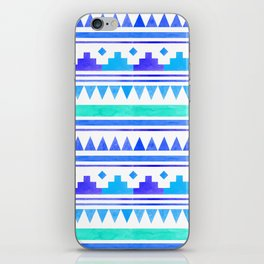 Seamless watercolor geometric pattern in native american style. Boho design iPhone Skin