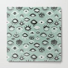 Mystic Eyes – Mint & Black Metal Print