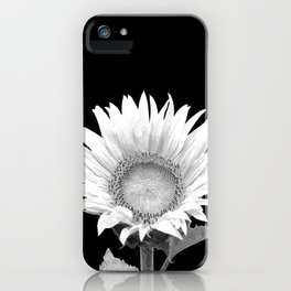 White Sunflower Black Background iPhone Case