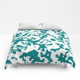 Spots - White and Dark Cyan Comforters