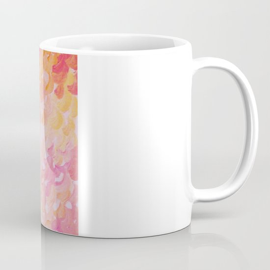 PINK PLUMES - Soft Pastel Wispy Pretty Peach Melon Clouds Strawberry Pink Abstract Acrylic Painting  Mug