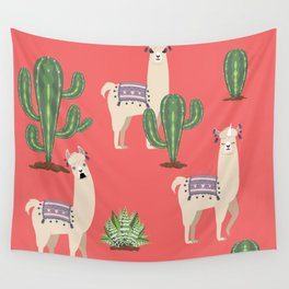 Llama with Cacti Wall Tapestry