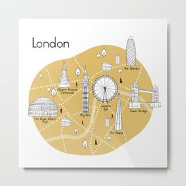 London Map - Yellow Metal Print