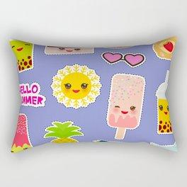 Hello Summer. Pineapple, cherry smoothie cup, ice cream, sun, cat, cake, hamster. Kawaii cute face. Rectangular Pillow
