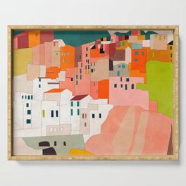 italy coast houses minimal abstract painting Serving Tray