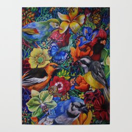 Feathered Foliage Bird Colored Pencil Drawing Poster