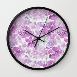 Soft Pink Pastel Watercolor Flower Pattern Wall Clock