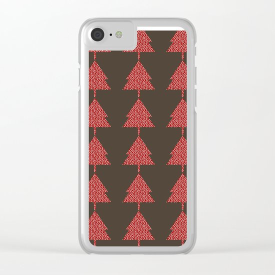 Christmas Tree brown Clear iPhone Case