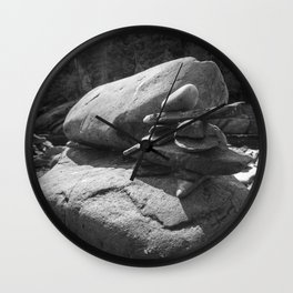Inukshuk in the sun - Black and white Wall Clock