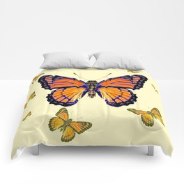 SPRING FLYING ORANGE MONARCH BUTTERFLIES ON CREAM Comforters