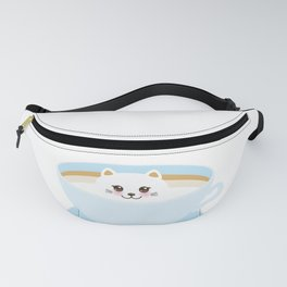 Cute Kawai cat in blue cup Fanny Pack