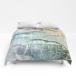 Free Like A Bird Seagull Mixed Media Art Comforters