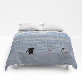 Gentoo Penguins Preening in the Snow Comforters
