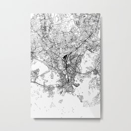 Helsinki White Map Metal Print