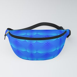 Mother of pearl pattern of blue hearts and stripes on a heavenly background. Fanny Pack