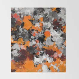Orange and Grey Paint Splatter Throw Blanket