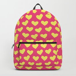 Pink and Yellow Hearts Repeated Pattern 084#001 Backpack