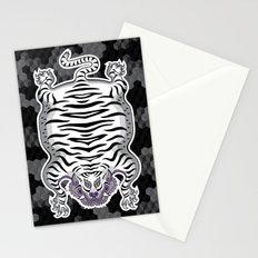 TIBETAN TIGER WHITE (black) Stationery Cards